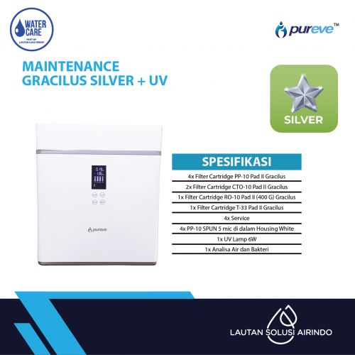 PAKET SERVICE RO DISPENSER GRACILUS SILVER + UV